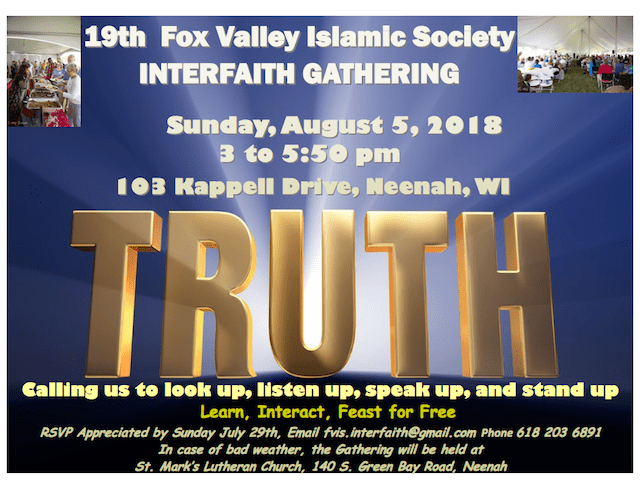 Fox Valley Islamic Society Interfaith Event 2018 Flyer