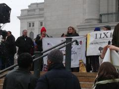 View of podium on Capitol steps at Madison Action Day 2013