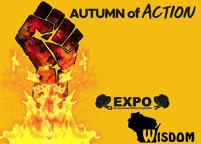 Autumn of Action EXPO WISDOM clenched fist rising out of a fire
