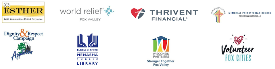 ESTHER - World Relief - Thrivent Financial - Memorial Presbyterian Church - Dignity & Respect - Menasha Pub Libr - Stronger Together Fox Valley - Volunteer Fox Cities