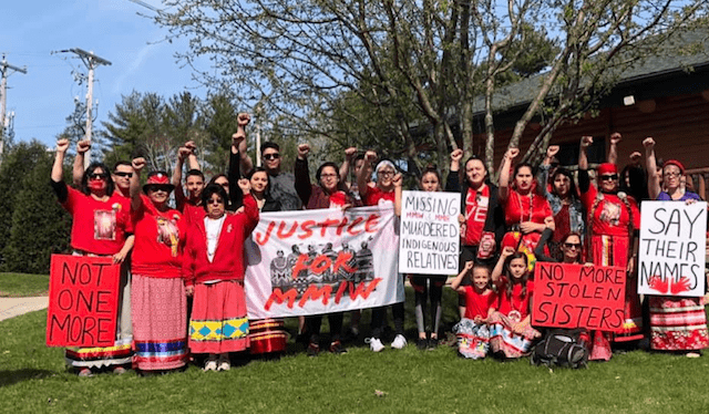 Tribal members protesting missing and murdered indigenous women