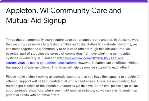 Appleton, WI Community Mutual Aid Signup Form