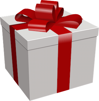 package with red bow