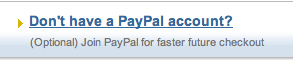 PayPal 'Don't have account' image