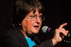 Sister Helen Prejean speaking into microphone