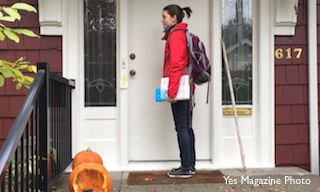 outreach worker on front porch in fall